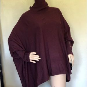 Alfani Tunic Top Poncho Dark Red, Purple 1X